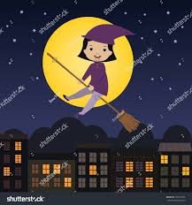kiddie cartoon halloween background cute little witch flying on broom stock vector 326219336