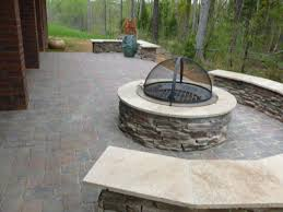 Stone Fire Pit Kit by Stonefire Pit With Cover On Paver Patio In Charlotte Nc