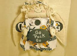 football green bay packer angel country primitive doll wall