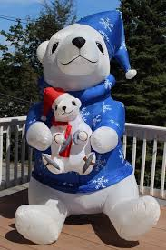 image giant airblown inflatable ice skating polar bear with