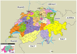 swiss map large political map of switzerland