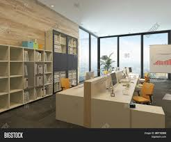 Open Floor Plan Office Space by 3d Rendering Of Modern Open Plan Office With Multiple Workstations