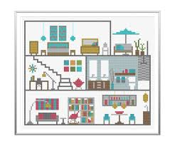 modern dollhouse cross stitch pattern instant download from