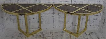 brass and glass console dining table