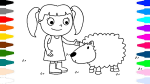 child and lamb coloring page learn coloring tr child youtube