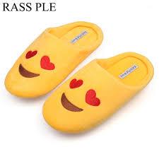 house emoji rass ple women soft velvet indoor floor expression slippers cute
