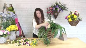 how to make a spring hanging basket youtube