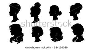 silhouettes girls hairstyles vector stock vector 155224019