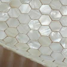discount hexagon of pearl tiles white mosaic
