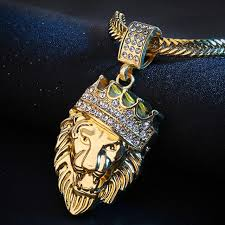 necklace chains hip hop images Mens full iced rhinestone an crown lion tag necklaces pendants hip jpg