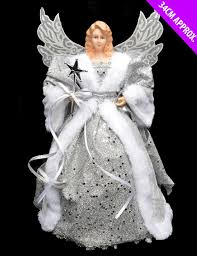 gold silver 34cm traditional angel xmas christmas tree topper top