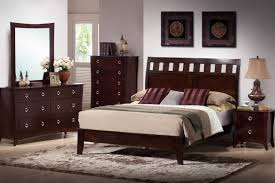 Brown Wood Bed Frame Lacquered Mahogany Wood Frame With Arched Headboard