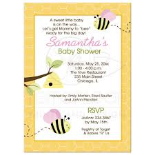 bumble bee pink baby shower invitations