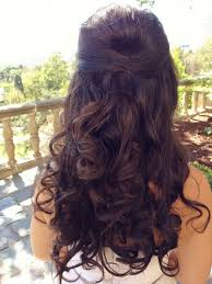 wedding hairstyle for long curly hair half up half down wedding