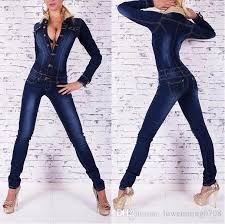 sleeve denim jumpsuit best 2015 fashion autumn winter womens denim rompers