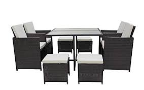 amazon com modern 8 piece space saving outdoor furniture dining set