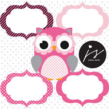 Baby Flag Baby Pink And Grey Owl Clipart With Digital Paper In Chevron Dots