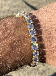 bracelet diamond ebay images Mens 35ct lab diamond tennis bracelet 14k yellow gold over solid jpg
