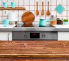 Wooden Kitchen Table Background Wooden Texture Table On Defocused Modern Kitchen Background Stock