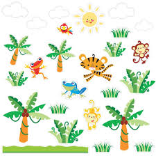 nursery wall decals kids room stickers brightly colored tree and baby nursery large size brewster st94517 fisher price animals of the rainforest wall decals decorative