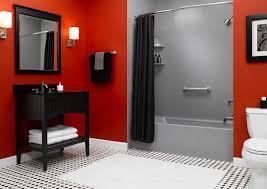 Red And Black Bathroom Ideas Colors Red Bathroom Floor Tub Modern Bathroom Design Also And Room Black