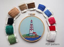 lighthouse hand embroidery pattern pdf embroidery hoop art hand