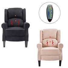 ergonomic massage recliner sofa chair heated lounge suede w