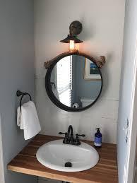 an inexpensive and completely custom butcher block bathroom vanity