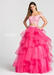 2 piece off the shoulder lace tiered tulle skirt prom dress ew118040