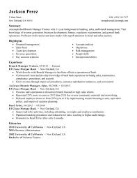 Bank Branch Manager Resume Best Branch Manager Trainee Resume Example Livecareer