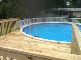 outdoor natural wood above ground pool deck kits for round pool