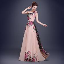 dress pattern brands one shoulder long evening dresses 2017 new print flower pattern