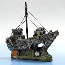 2017 beautiful home aquarium ornament wreck sailing boat sunk ship