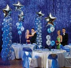 blue wedding balloon columns with silver star foil balloon toppers