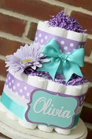 2 tier flower purple and teal diaper cake baby shower