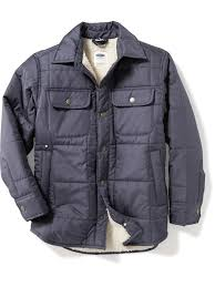quilted sherpa lined shirt jacket for boys old navy
