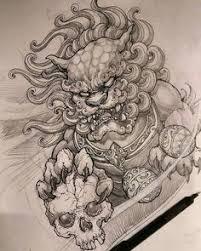 foo dog foo dog lion guardian tattoo design foo