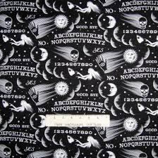 halloween fabric wicked ouija board symbols black timeless