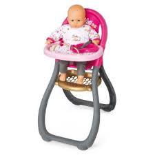 chaise haute poup e chaise haute pour poupée baby smoby accessoire poupée fnac