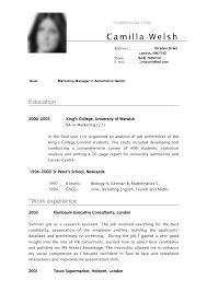 simple curriculum vitae for student cv sample curriculum vitae camilla resume pinterest