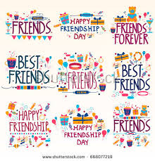 happy friendship day festival wishing stock vector