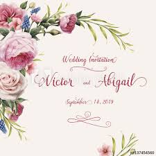 wedding card to greeting card with roses watercolor can be used as invitation