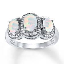 opal rings jewelry images Lab created opal ring diamond accents sterling silver jpg