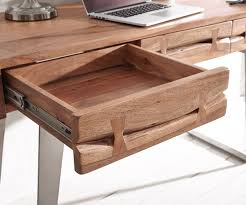 Schmaler Schreibtisch Aus Holz Schreibtisch Live Edge 137x56 Cm Akazie Natur Baumkante Möbel