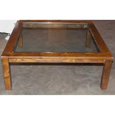 luxury glass top square coffee table with wooden pedestal coffee