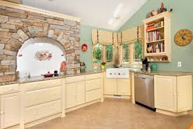 l shape kitchen design using natural grey stone kitchen wall panel