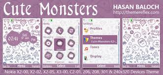 nokia 206 cute themes cute monsters theme for nokia x2 00 x2 02 x2 05 x3 00 c2 01 206