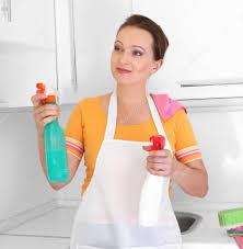 woman cleaning kitchen u2014 stock photo tihon6 11993348