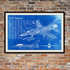 blueprint art of f 16 falcon jet planetechnical drawings