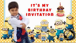 Minions Invitation Card Whatsapp Birthday Invitations Youtube